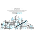 Lets rock - line design website banner vector image