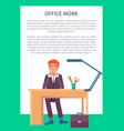 male sitting workplace and smiling office worker vector image vector image