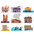 natural disasters cataclysms ruined destroyed vector image vector image