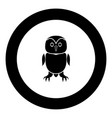 owl black icon in circle vector image vector image