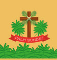 palm sunday greeting card cross branch christian vector image vector image