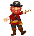 Pirate with hand of hook vector image vector image