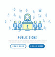 public signs concept with thin line icons vector image vector image
