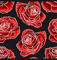 red rose flower bouquets contour elements seamless vector image vector image