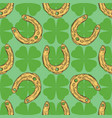 seamless pattern gold lucky horseshoe vector image