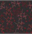seamless pattern red branches on a gray vector image