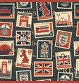 seamless pattern with stamps on theme uk vector image vector image