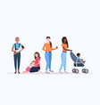 set mix race women with little kids pregnancy vector image