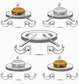 set of hamburgerplates and cutlery vector image vector image