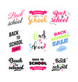 set of welcome back to school labels school vector image