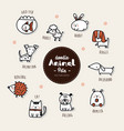 set pets animal icon hand draw doodle style vector image vector image
