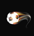 soccer ball on fire and smoke on a dark background vector image vector image