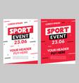 sport flyer design banner poster sport event vector image