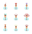 Stress and depression icons set cartoon style vector image vector image