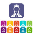 support phone operator in headset icons set vector image vector image
