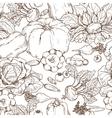 Vegetables pattern outline vector image