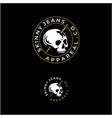 vintage badge stamp skull skeleton with sewing vector image
