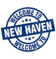 welcome to new haven blue stamp vector image vector image