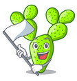 with flag cartoon the prickly pear opuntia cactus vector image