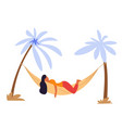 woman lying in hammock under palms isolated vector image