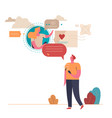 young people communicate on internet virtual vector image