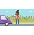 Young woman hitchhiking vector image vector image