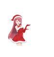 anime manga girl dressed in santa claus costume vector image