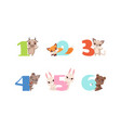 anniversary numbers with cute animals set bull vector image vector image