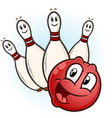 bowling ball and pins cartoon characters vector image