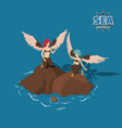 cartoon sirens in isometric view fantasy marine vector image