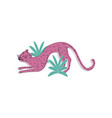 cute pink leopard with happy face and arched back vector image