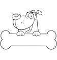 Dog and bone vector image vector image