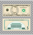 dollar banknotes us currency money bills - 5 vector image