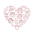 donation and charity outline red heart vector image vector image