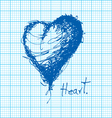 drawing of heart on graph paper vector image vector image