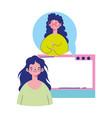 education online girls talking web video vector image vector image