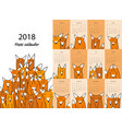 funny foxes calendar 2018 design vector image