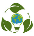green eco light bulb icon concept isolated vector image vector image