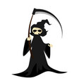 Halloween character with grim reaper with scythe