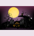 halloween town background with pumpkin and full vector image vector image