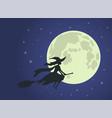 halloween witch flies on broomstick full moon vector image vector image