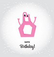 happy eighth birthday postcard pink number seven vector image