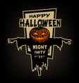happy halloween pumpkin head scarecrow vector image vector image