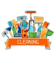 Housekeeping background with cleaning sticker