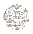 japan sketch symbols travel to oriental country vector image