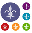 lily heraldic emblem icons set vector image vector image