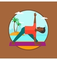 Man practicing yoga triangle pose on the beach vector image vector image