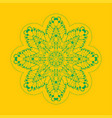 mandala-star made of outlines on yellow background vector image