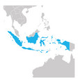 map indonesia green highlighted with neighbor vector image vector image