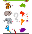 match animals and continents educational game vector image vector image
